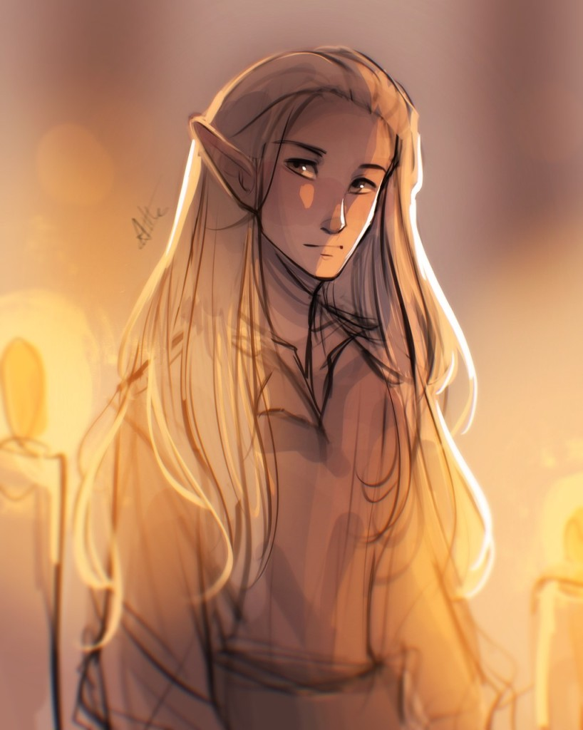 A drawing of an elf with long, pale hair, lit by candlelight.
